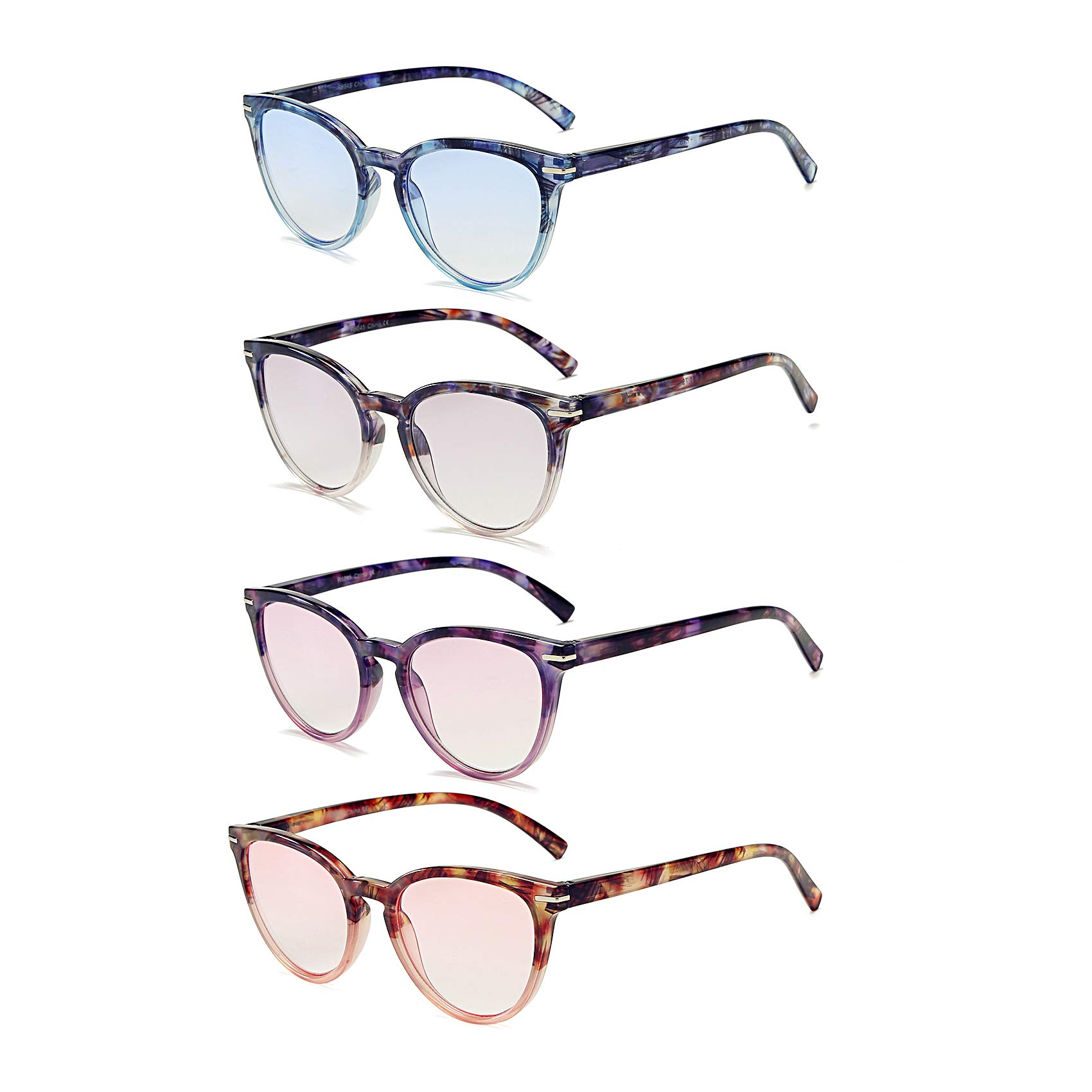 100 CLASSIC Reading Glasses 4 Pack Quality Fashion Colorful Readers for Women R6045 (2.50) by 100 CLASSIC