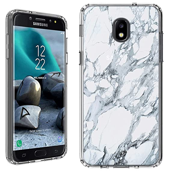 official photos 4d84e a3cb4 Amazon.com: Galaxy J3 2018 Case [White Marble](Clear) PaletteShield ...