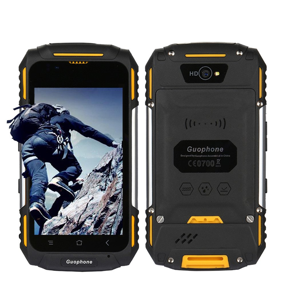 Waterproof Mobile Phone Dustproof Shakeproof Rugged GSM Smartphone Android 5.1 3G 4.0 inch Unlocked cell phone GPS Mtk6580 Dual-Core,Dual SIM Card Slot (yellow)