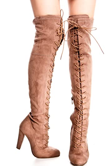 Forever Link Microfiber Lace up Side Zipper Over The Knee HIGH Heel Boots  55 Taupe 7bcb9a4f37