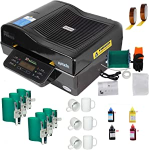 TECHTONGDA 3D Muti-fuction Vacuum Sublimation Heat Press Machine Kit for Mugs Plates Phone Cases Transfering Printing with Ink Rubber Clamp Tape and Mugs