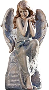 Roman Joseph's Studio Angel with Bluebird Statue, 16.25H, Garden Collection, Resin and Stone, Decorative, Religious Gift, Home Outdoor and Indoor Decor, Durable, Long Lasting