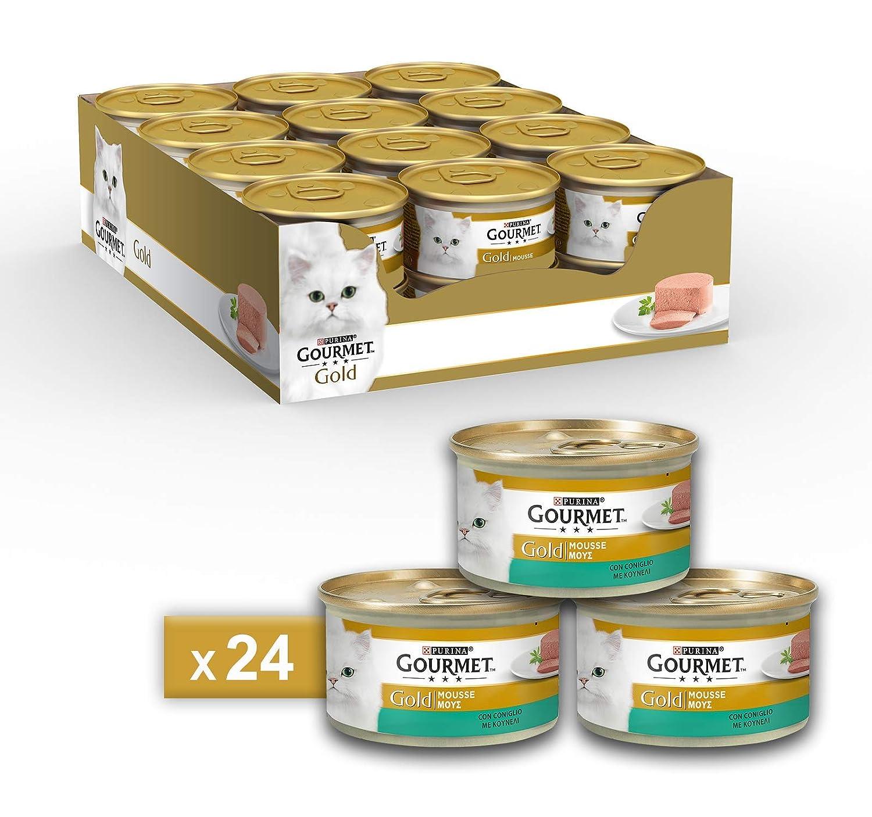 Gourmet Gold Mousse para El Gato, con Conejo, 85 g – Pack de 24 ...