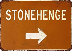 Retro Metal Wall Decor Art 12x8in,Stonehenge This Way Vintage,Vintage Look Reproduction Metal Tin SignMetal Signage Wall Decoration Garage Shop bar Living Room Wall Art Poster