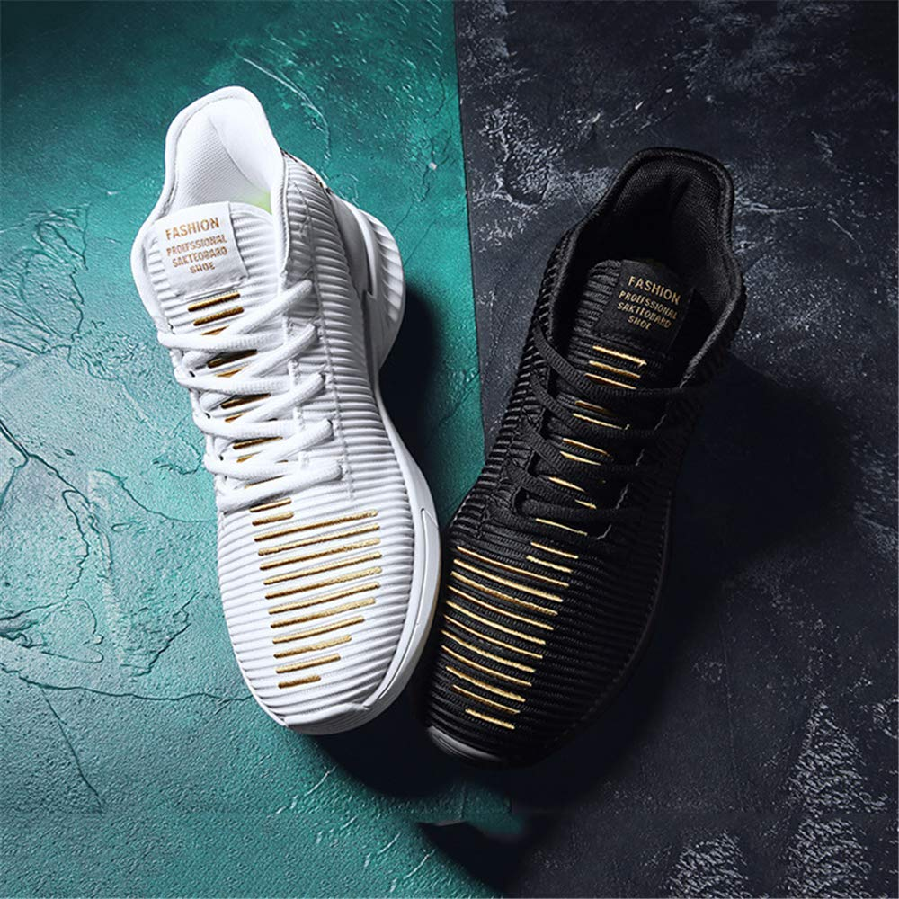 GXTING Zapatillas De Baloncesto para Hombre Zapatillas De Baloncesto De Ca/ña Alta Botas De Baloncesto De Absorci/ón De Impactos Transpirables De Punto Zapatillas De Running,BlackGold,39