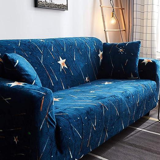 D&LE Funda de sofá Cubre 1 2 3 4 Plazas Color Puro Felpa Protector de sofá Terciopelo Fácil Ajuste elástico Tela Stretch Protector para sofás-H 4 ...