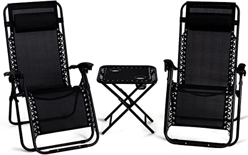 Giantex 3 PCS Zero Gravity Chair Patio Chaise Lounge Chairs Outdoor Yard Pool Recliner Folding Lounge Table Chair Set Black
