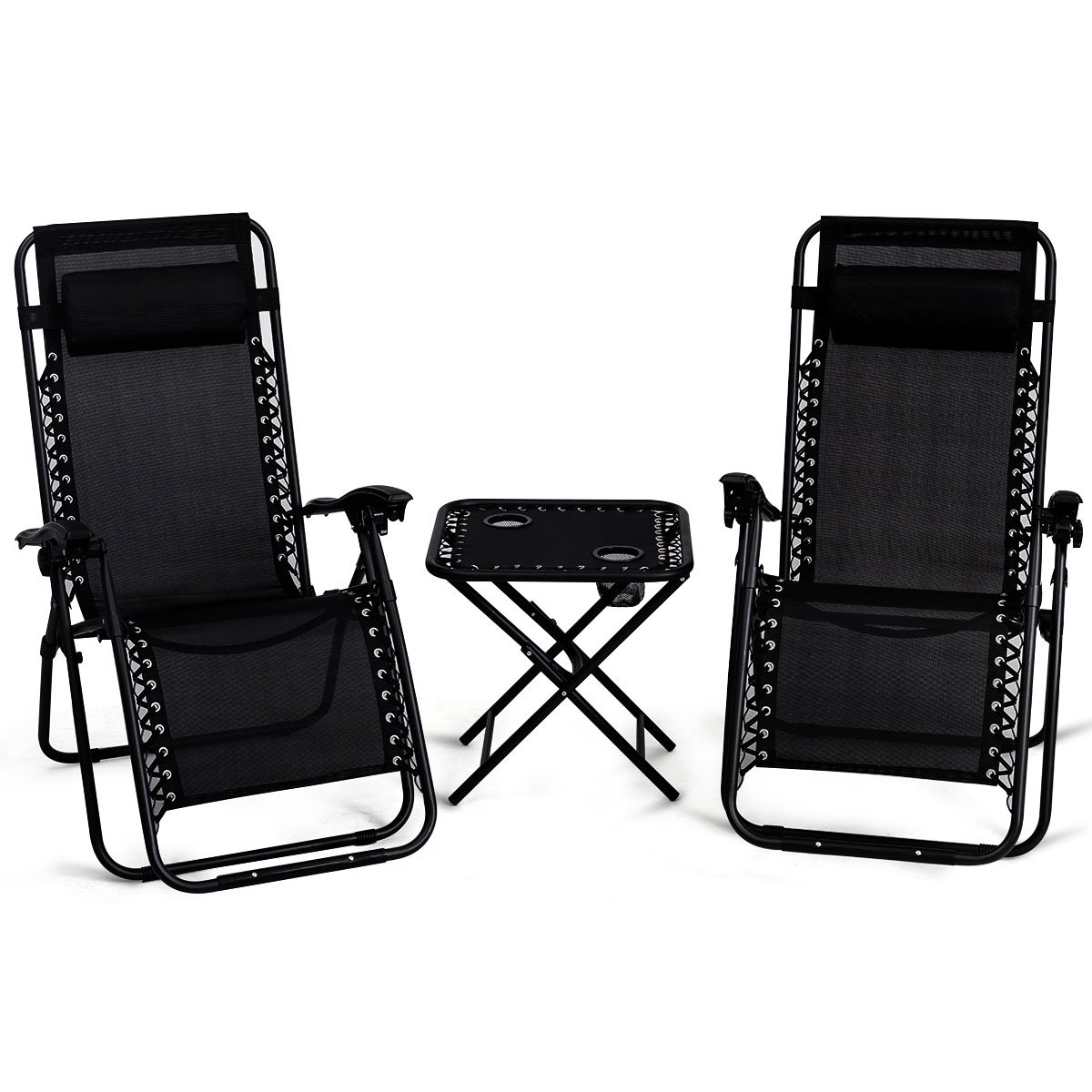 Amazon Com Giantex 3 Pcs Zero Gravity Chair Patio Chaise Lounge