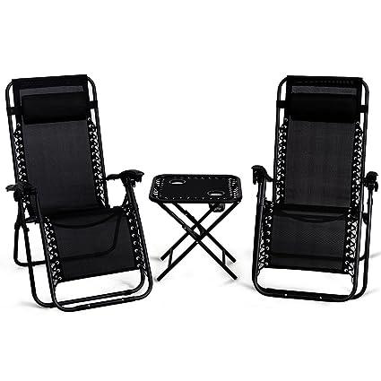 Giantex 3 PCS Zero Gravity Chair Patio Chaise Lounge Chairs Outdoor Yard  Pool Recliner Folding Lounge