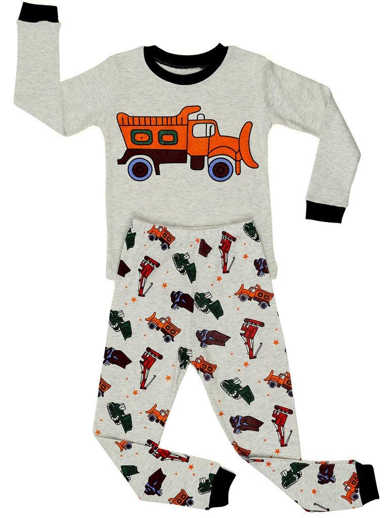 Elowel Little BoysBulldozer 2 Piece Pajama Set 100% Cotton (Size6M-8Y) Elowel Pajamas Bulldozer00
