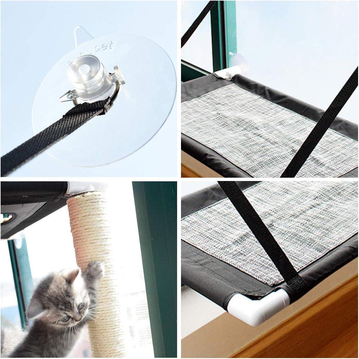Owlike Cat Window Perch Cat Window Hammock Pet Resting Seat Space Saving Window Mounted Cat Bed for 360/° Sunbath