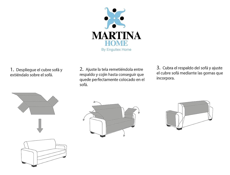 Martina Home Martina Dual Cover Cubre Sofá Acolchado Reversible, Beige / Marron, 1 Plaza