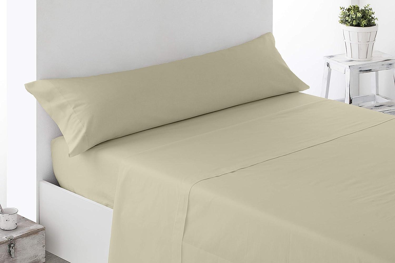 Cabetex Home Parure de lit 3 pi/èces en Microfibre Respirante Unicolors 90/_x/_190//200 cm Beige