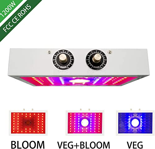 1200W COB LED Grow Light for Indoor Plant, Adjustable Full Spectrum Plant Light Growing Lamps with Veg and Bloom for Basement Planting 1200W