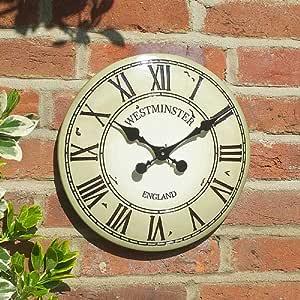 "Wall Clock  Westminster Tower Outdoor and Indoor in Cream 30cm//12/"""