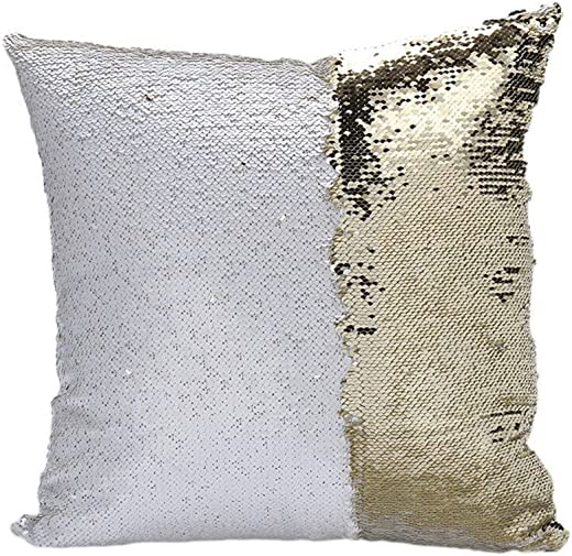 Sonicee Fashion Double Sequin Mermaid Bright Color Throw Pillow with Compression Striped Pillow Core Or Pillow Core for Home Sofa Bed Decor 2, White Gold