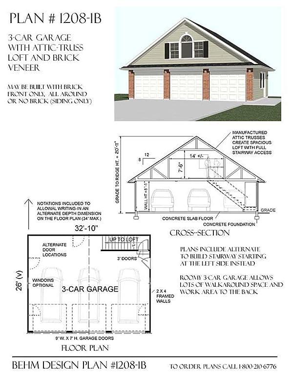 Garage Plans 3 Car With Attic Truss Loft 12081B 3210 x 26