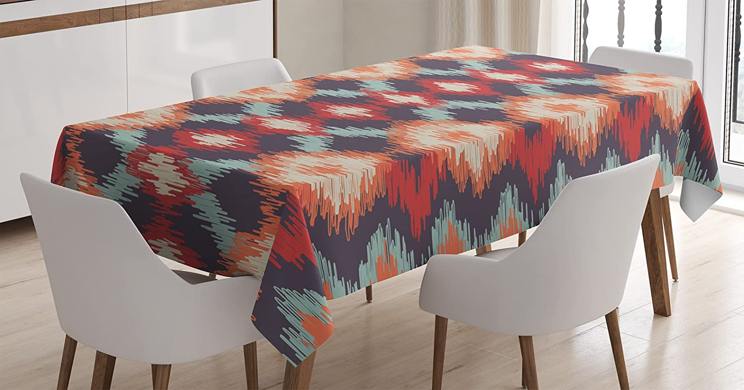 Amazon Com Ambesonne Ikat Tablecloth Oriental Double Batik Tie Dye Weaving Style Graphic Ikat Forms Cultural Artisan Dining Room Kitchen Rectangular Table Cover 52 X 70 Red Orange Teal Home Kitchen