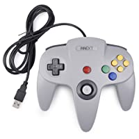 iNNEXT N64 Controller grau,Classic N64 USB Game Gamepad N 64 PC-Controller Joystick Für Windows Mac PC Raspberry Pi