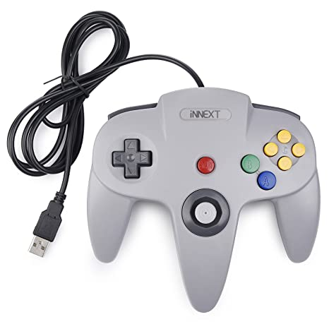 N64 Classic USB Controller,iNNEXT Retro Controller for N64 Bit USB Wired  Gamepad Joystick Game Controller for Windows PC Mac Raspberry Pi 3,Gray