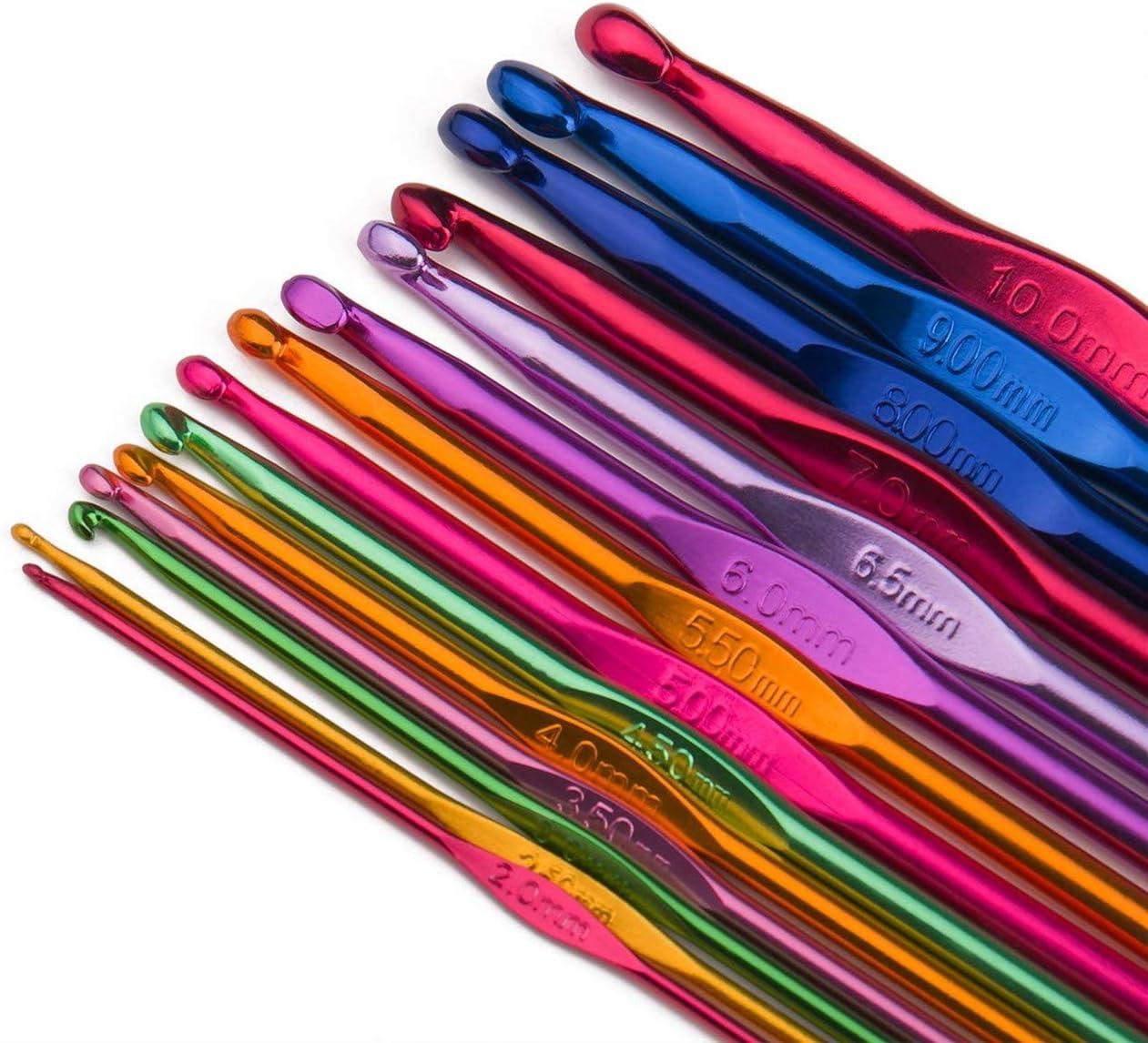 Luxbon Conjunto de 14 Tamaños Ganchos de Ganchillo de Aluminio Multicolor Establece Agujas de Tejer 2 mm-10 mm en Una Cartera de Plástico Dividido / Caja