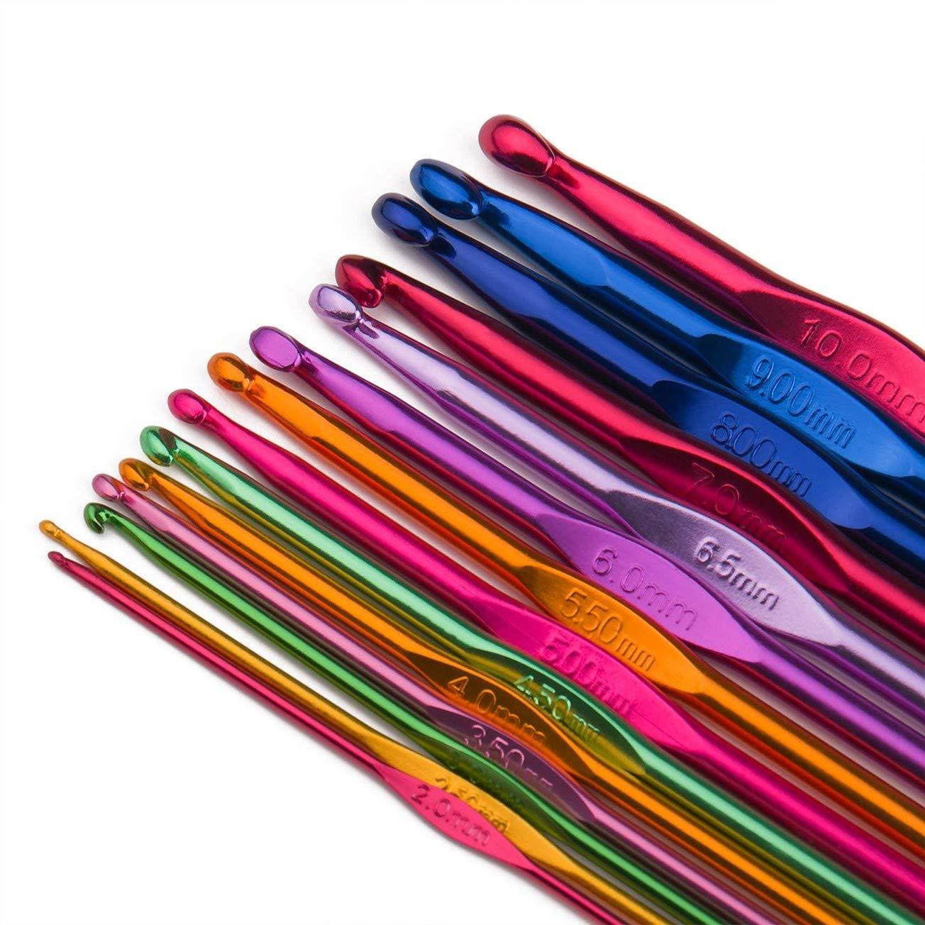 Haken Crochet Hooks 2-10mm Bunt Aluminium Stricken Nadeln Werkzeug Praktisch Neu