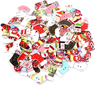 Christmas Wood Buttons, 100 Pcs Mixed Craft Buttons with 2 Holes, Christmas Tree, Reindeer, Santa Claus Wooden Button for Sewing Crafting DIY Craft Card Making Embellishments Christmas Decoration (C)