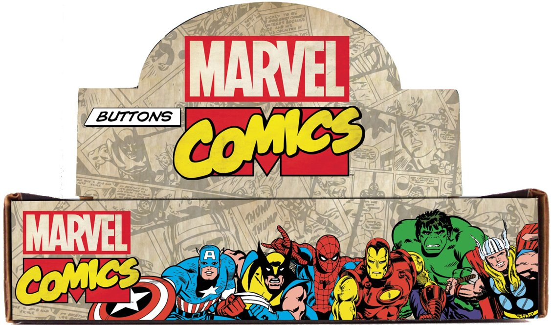Button set Marvel Comics Countertop Display Box Contains Assorted Loose Buttons, 144-Piece