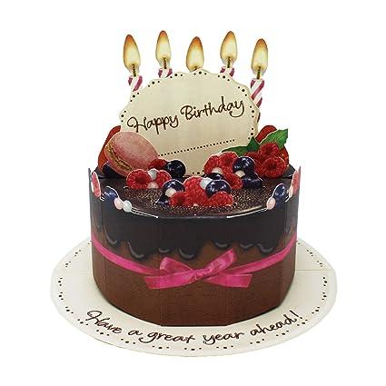 Amazon.com : Chocolate Birthday Cake Pop Up Decorative Birthday Card ...