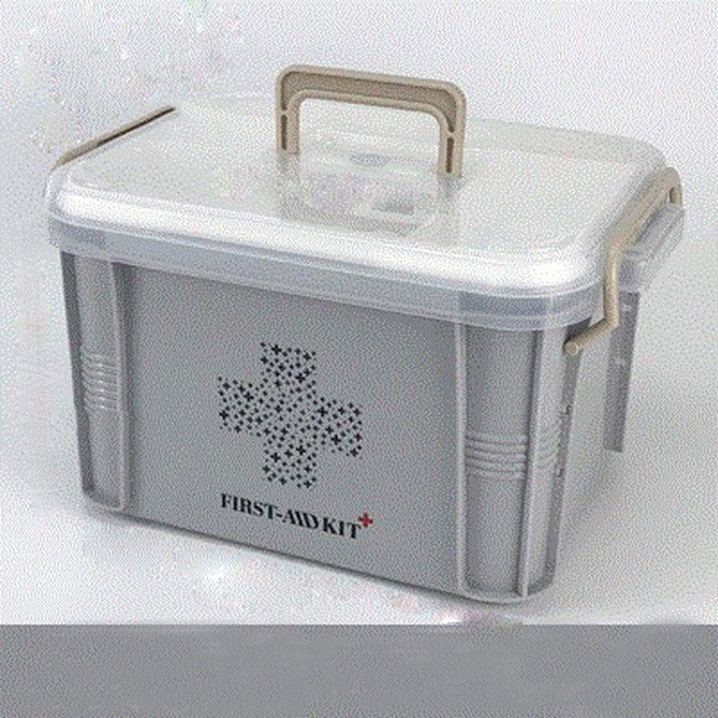 LSXUE Portable Medicine Large-Capacity Small Medicine Box Household Medicine Storage Box Row Portable Thickening Storage Box (Color: Gray)