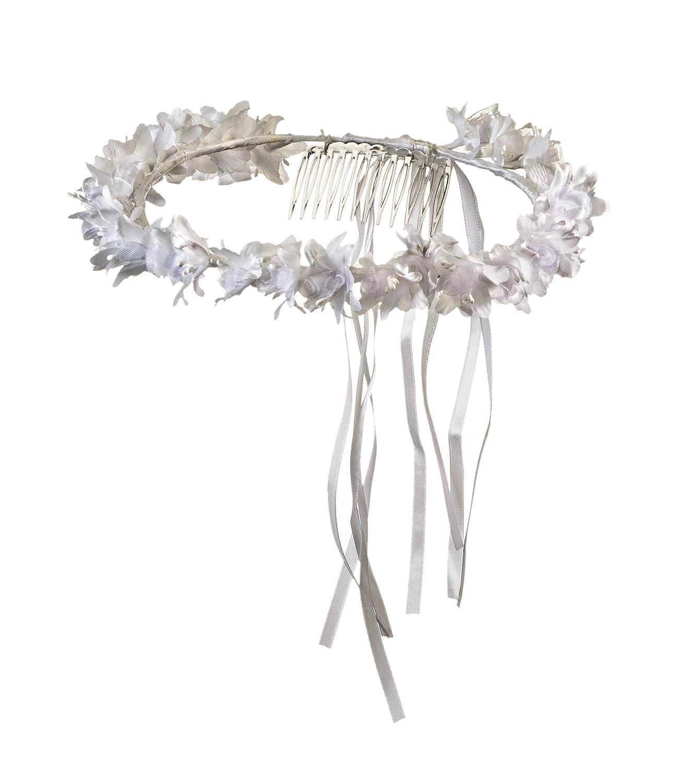 Girls First Communion White Flower Blossom Veil Headpiece