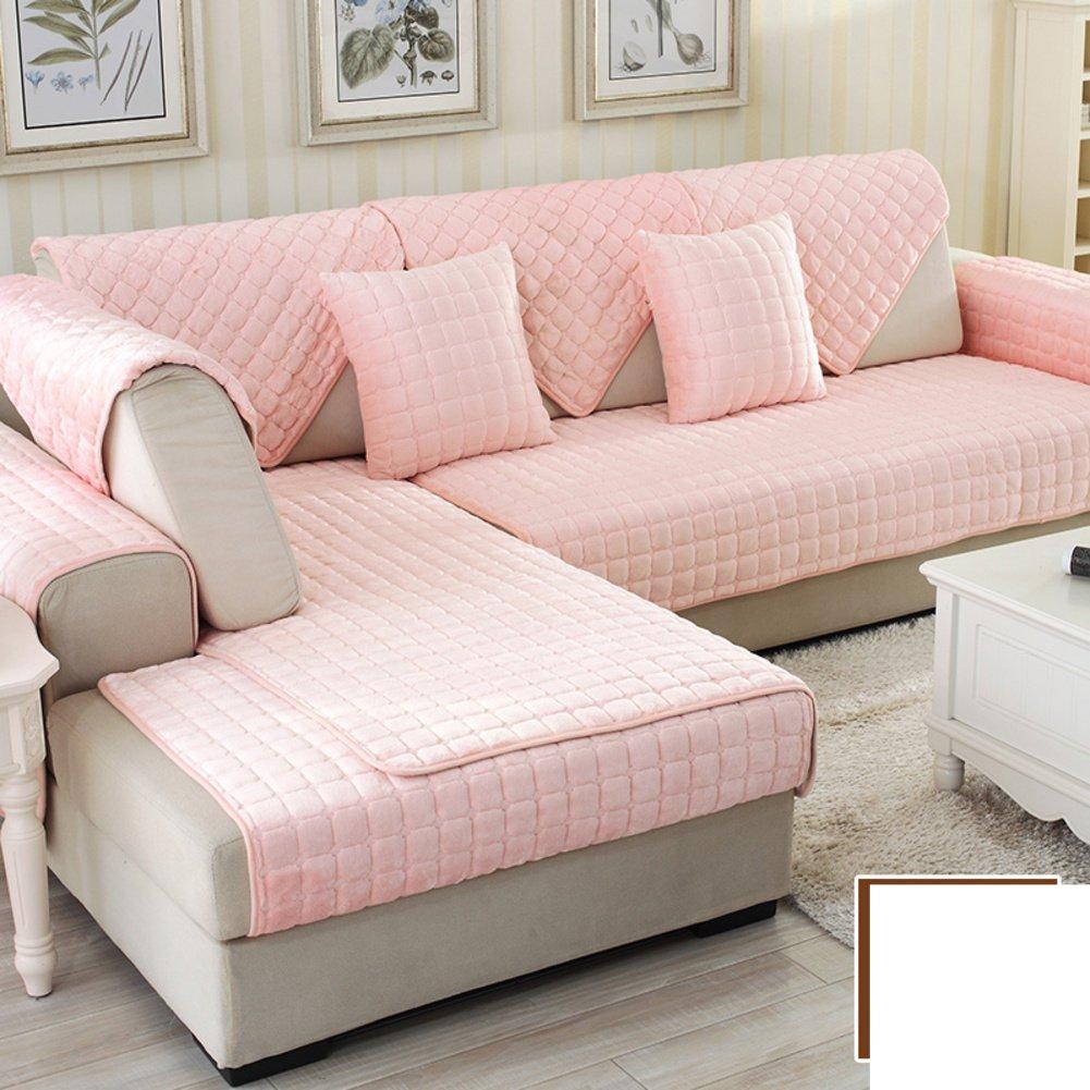 DW&HX winter Thicken Flannel plush Sofa cushions, Cover Anti-skidding Fabric Sofa cover Cushion-B 110x180cm(43x71inch)