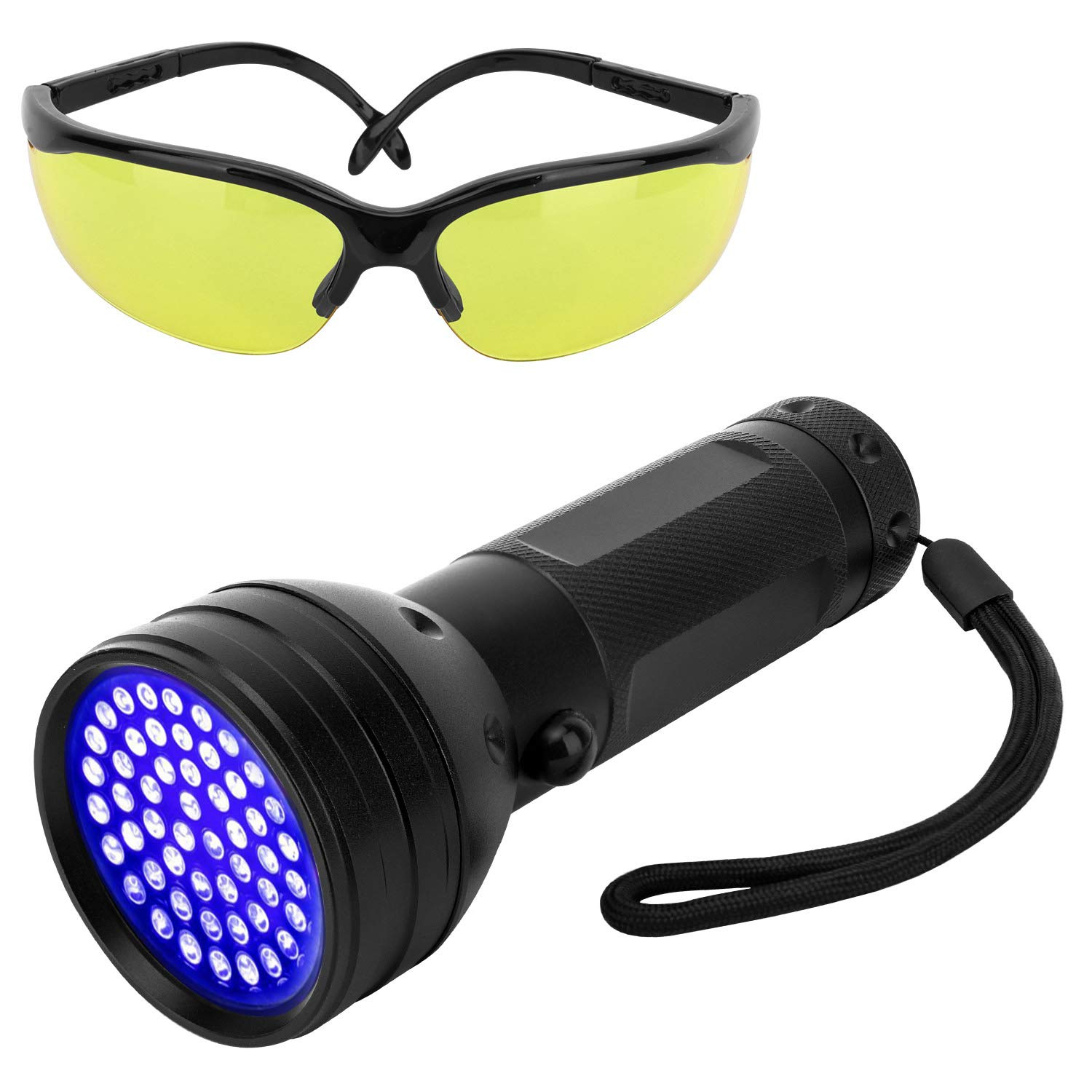 Pawaboo UV Blacklight Flashlight, 51 LED Ultraviolet 395nm UV Hand-held Detecting Torch for Pet Urine, Bed Bugs, Stains, Verifying Money Documents, UV Protecting Glasses Included, Black by Pawaboo