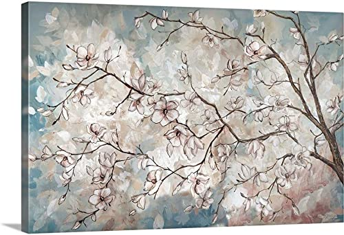 Magnolia Branches on Blue Canvas Wall Art Print