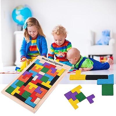 DDG EDMMS - Puzzle de madera colorida para tetris, tangrama, cerebro y puzle educativo para bebé: Bricolaje y herramientas