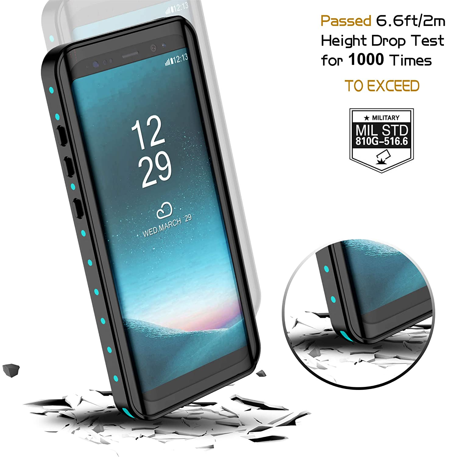 new styles 1662f 6e10b Temdan Samsung Galaxy S8 Waterproof Case Supported Wireless Charging  Full-Body Protection Built in Screen Protector with Floating Strap  Waterproof ...