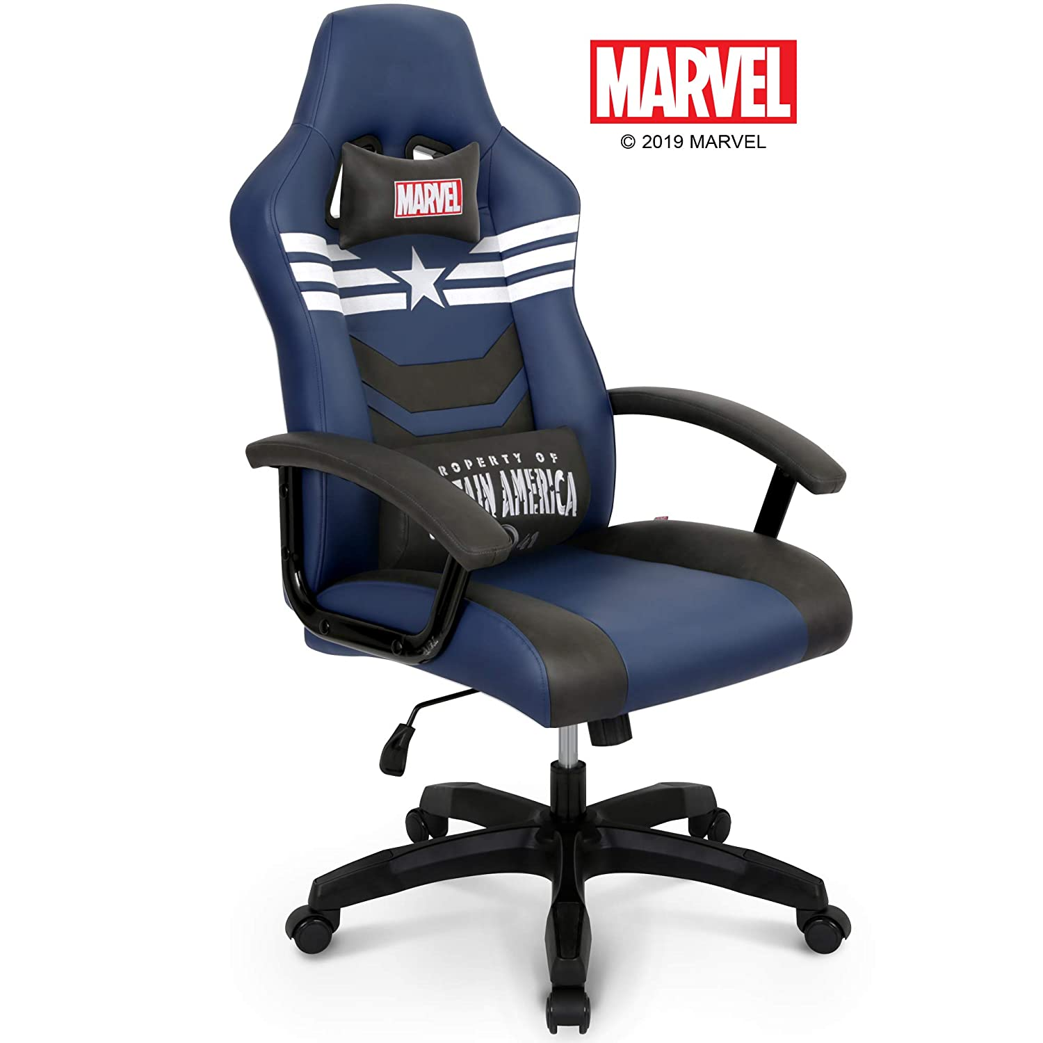 Marvel Avengers Captain America Big Wide Heavy Duty 330 lbs Gaming Chair Office Chair Computer Racing Desk Chair Blue White – Endgame Infinity War Series, Marvel Legends