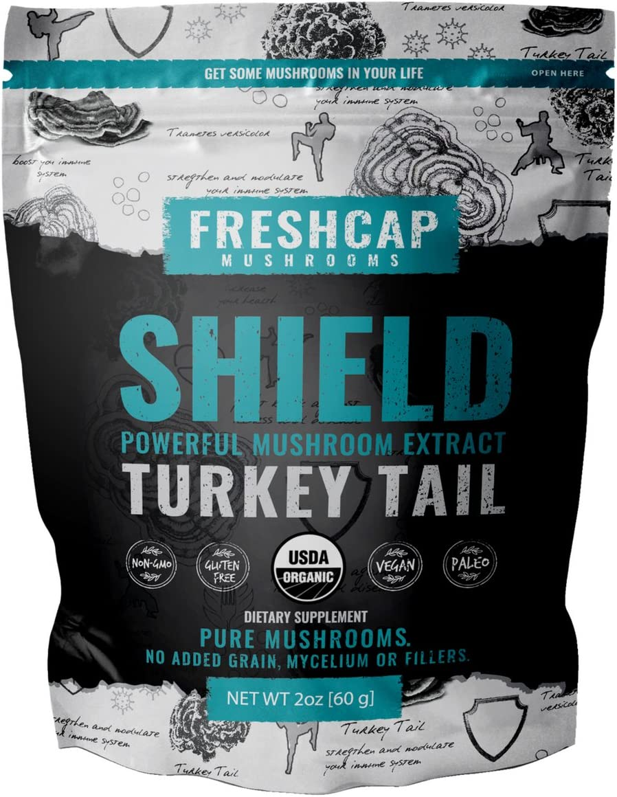 Shield – Turkey Tail Mushroom Extract Powder – USDA Organic -60 g- Supplement – Immune Protection – Add to Coffee Tea Smoothies-Real Fruiting Body No Fillers