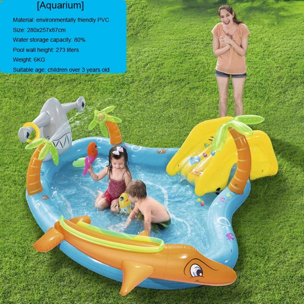 LIJUEZL Aufblasbare Poolwasserrutschen für Kinder, PVC-Blaumbad-Pool Rafts für Baby über 3 Jahre alt Kinderwasserspielzeug E