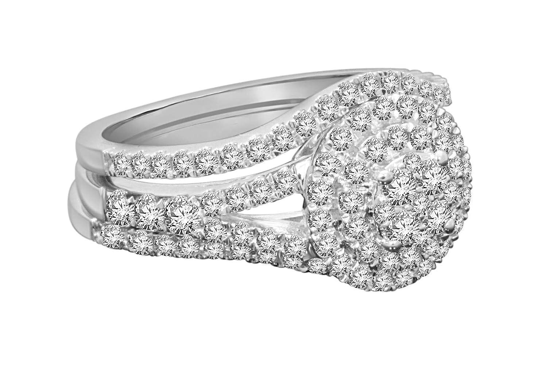 Amazon.com: Juego de anillos de novia de diamante real, oro ...