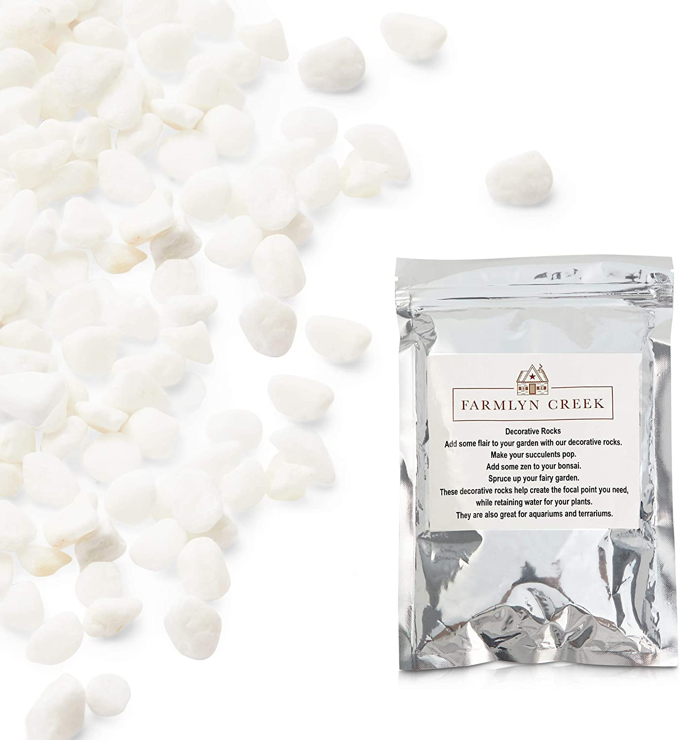 White Rocks for Planters, Fish Tanks, and Terrariums (2 Lbs)