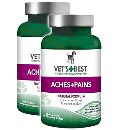 Vet's Best Aspirin Free Aches & Pains Formula Chewable Tablets, 50 Count -  Pack of 2 (100 Tablets Total)