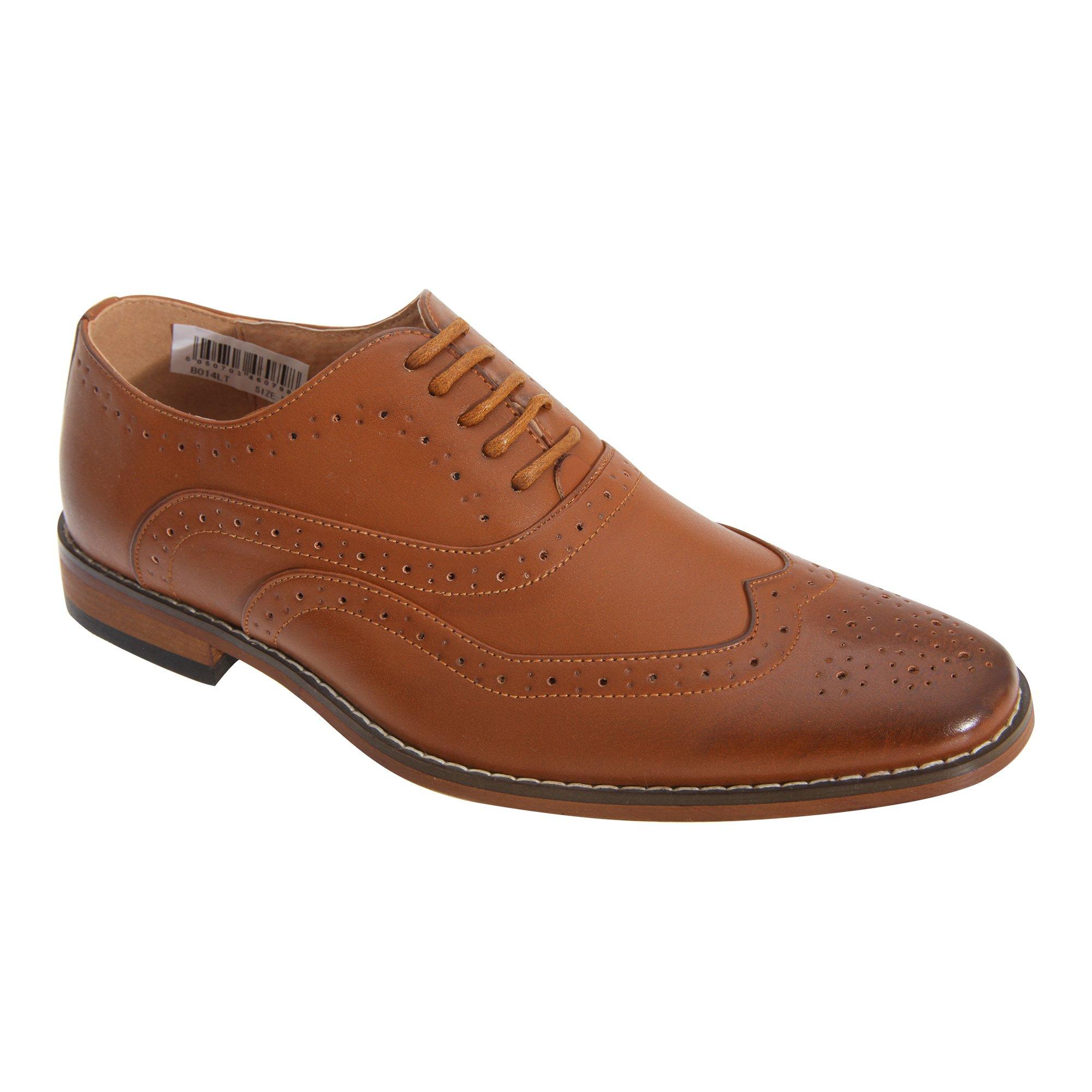 Goor Boys 5 Eyelet Brogue Oxford Shoes (5 Youth US) (Tan)