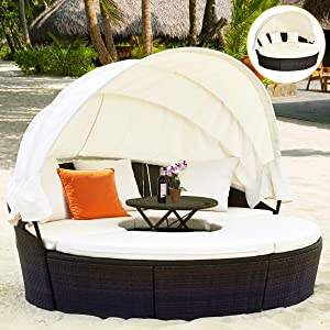 Tangkula Patio Round Daybed with Retractable Canopy, Outdoor Wicker Rattan Furniture Sets, Sectional Sofa Set w/Height Adjustable Coffee Table, Rattan Conversation Sets (Brown)