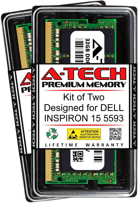 A-Tech 64GB (2 x 32GB) RAM for DELL INSPIRON 15 5593 | DDR4 2666MHz SODIMM PC4-21300 260-Pin Non-ECC Memory Upgrade Kit