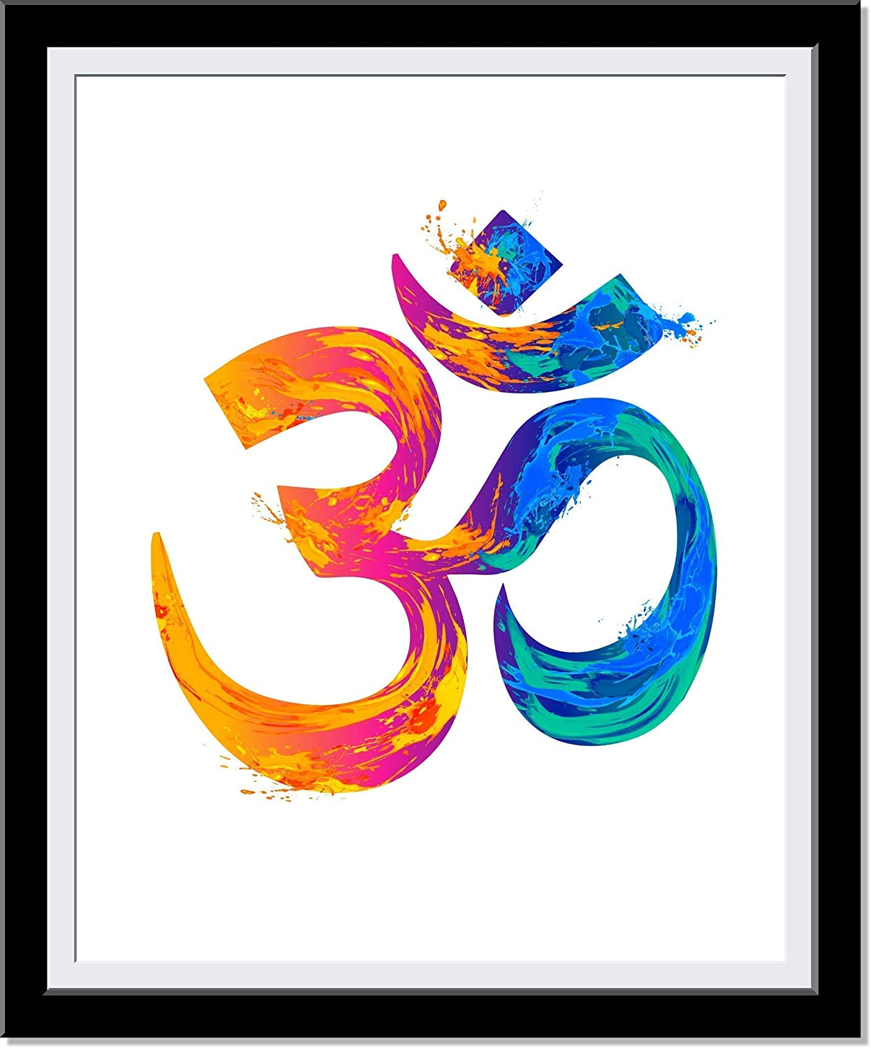 Om Wall Decor, Watercolor Aum Painting - Colorful Vibrant Fire And Water Brush Strokes, Gift For Meditation, Yoga Or Zen - Boho Chic Home Decor Or Yoga Studio - 8 X 10 Unframed…