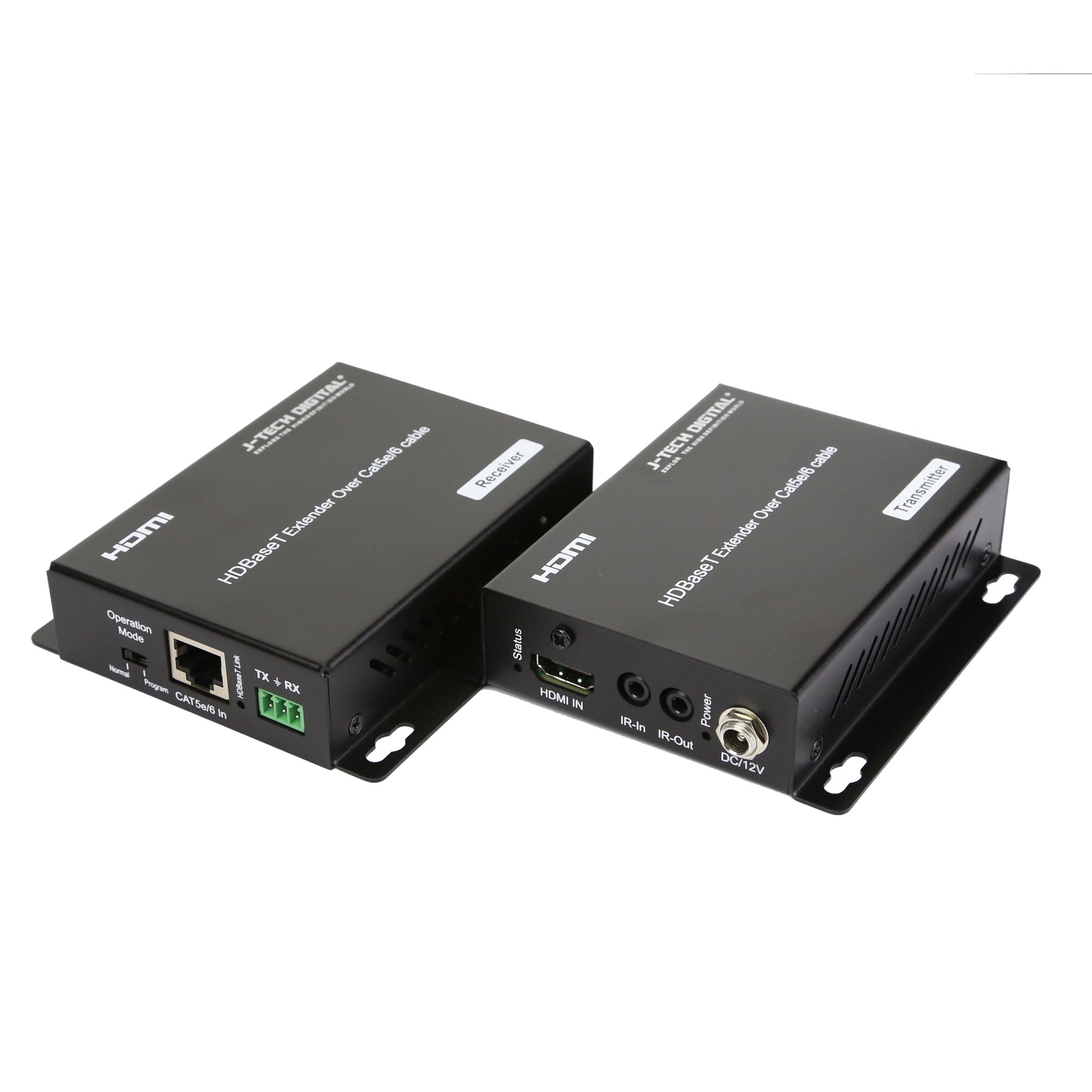 J-Tech Digital HDBaseT HDMI Extender 4K Ultra HD Extender for HDMI 2.0 over Single Cable CAT5e/6A up to 230ft (1080P) 130ft(4K) Supports HDCP 2.2 / 1.4, RS232, Bi-directional IR and PoE