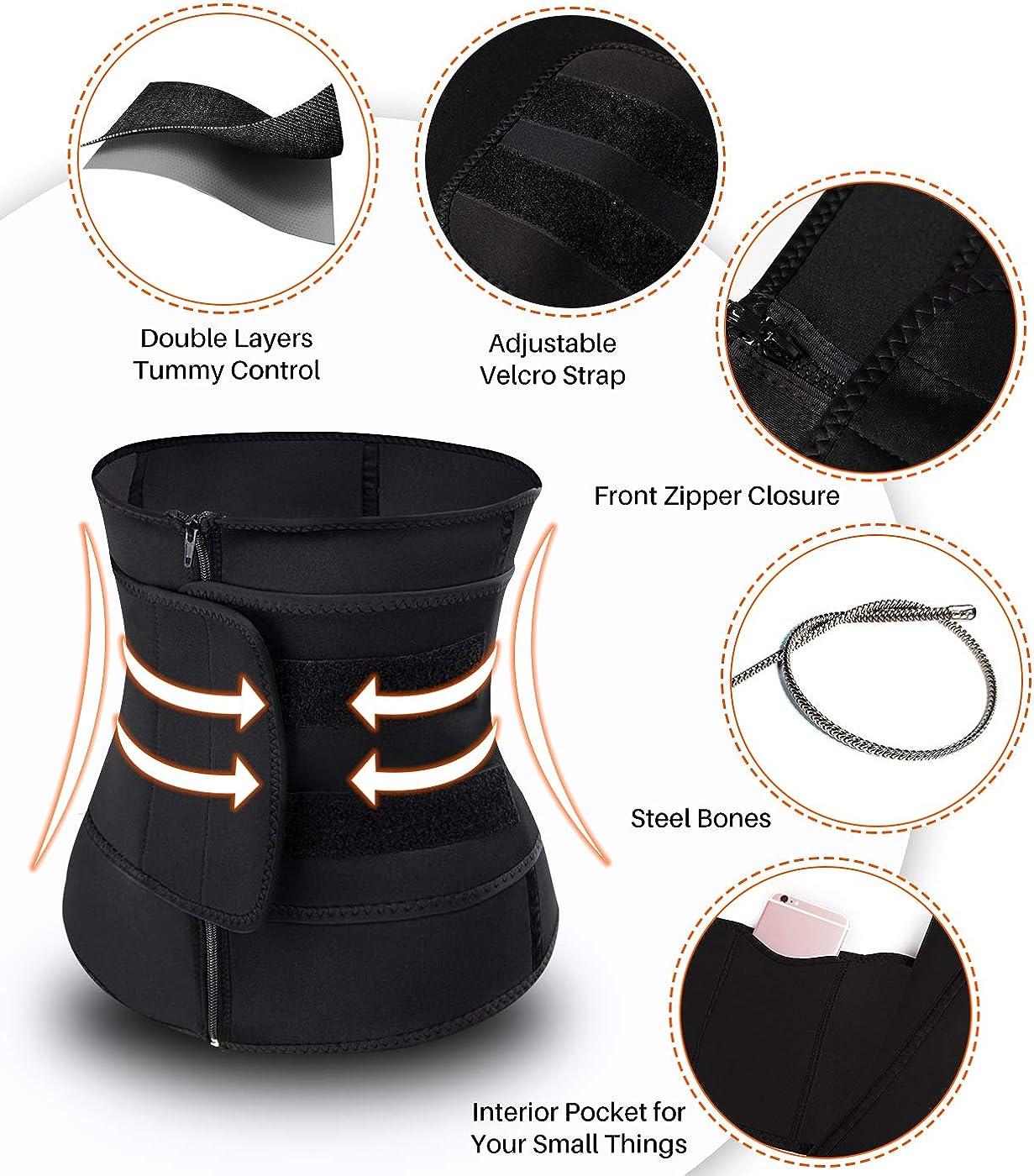 COMFREE Serre Taille Minceur Bustier Shapewear Gaine Amincissante Ventre Plat pour Unisexe avec Velcro Petite Poche