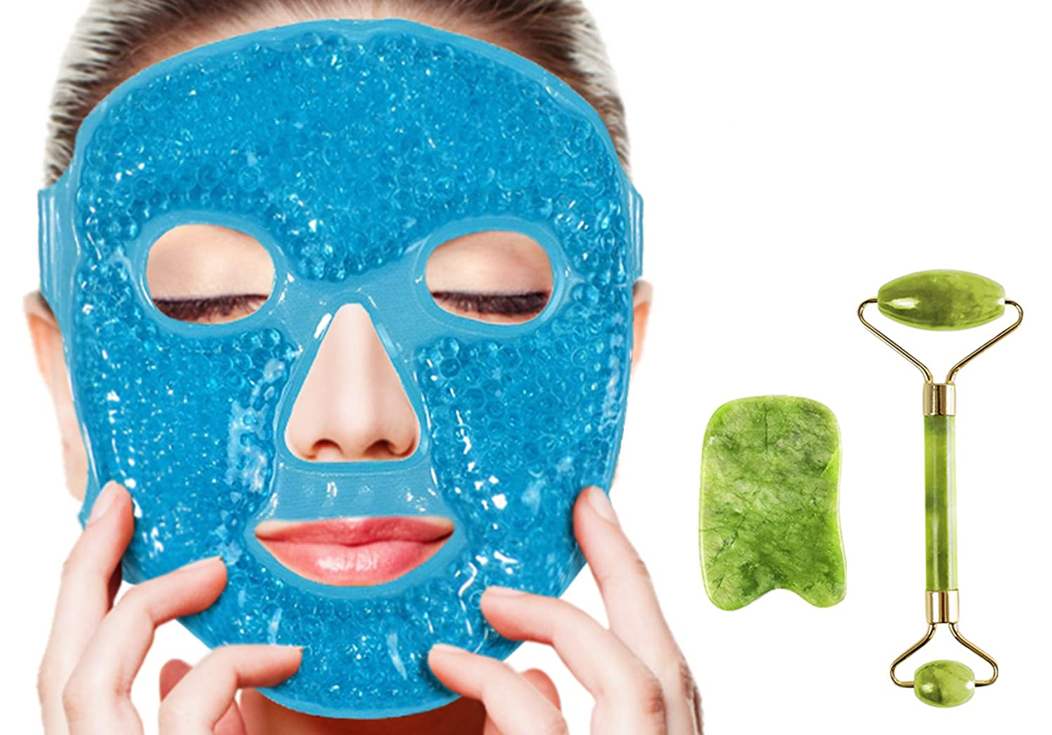 Puffy Eyes Gel Pack Mask with Jade Roller and Gua Sha Tool,100% Real Ficial Ice Jade Roller Anti Wrinkle Mask Therapy Pack Reusable Large for Face & Eye Puffiness Migraine Relief Gifts for Women