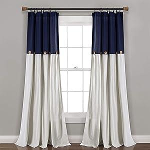 "Lush Decor, Navy/White Linen Button Window Curtain Single Panel, 95"" x 40"""